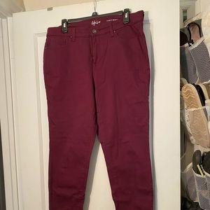 Style & Co Burgundy purple stretch jeans 12
